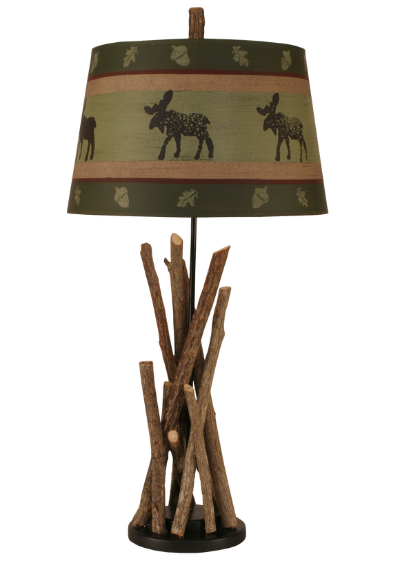 12R8D - Stick Moose Wooden Base - 31 Inch Rustic Table Lamp - ThunderHorseCabin.com
