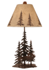 12R9A - Iron Pine Trees Elk - 33 Inch Rustic Table Lamp - ThunderHorseCabin.com