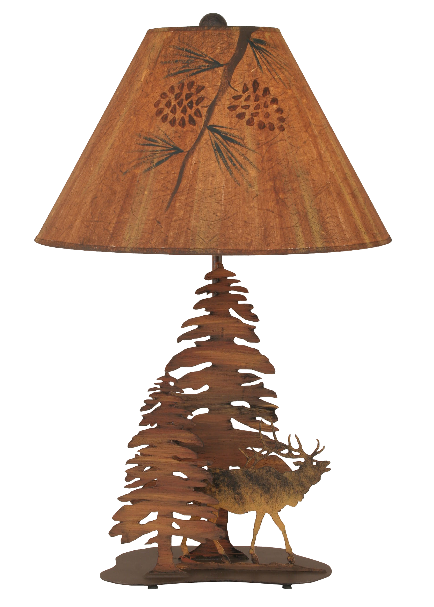12R9B - Rustic Iron Elk Trees - 28.5 Inch Rustic Table Lamp - ThunderHorseCabin.com