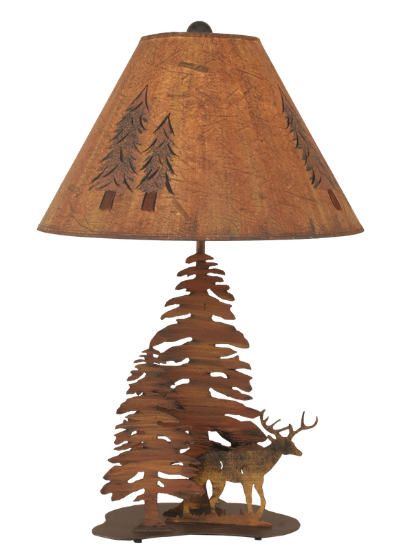 12R9C - Iron Deer Trees - 28.5 Inch Rustic Table Lamp - ThunderHorseCabin.com