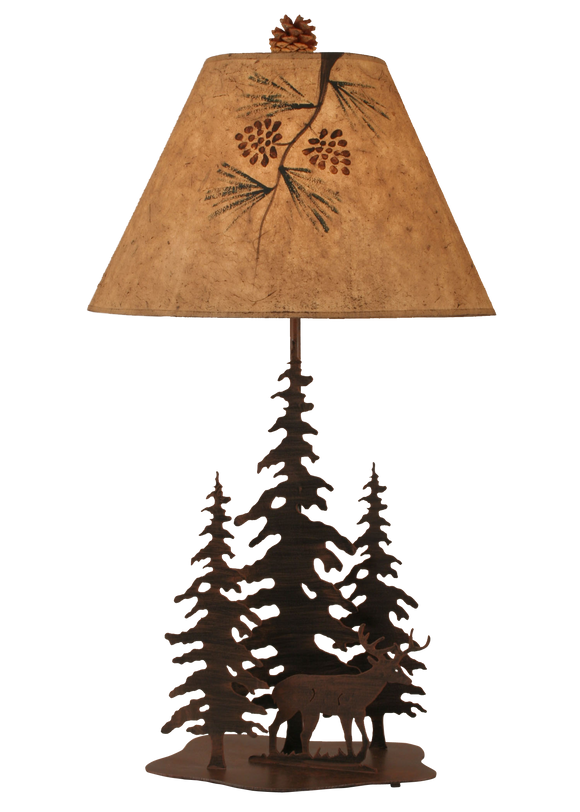 12R9D - Iron Pine Trees Deer - 33 Inch Rustic Table Lamp - ThunderHorseCabin.com