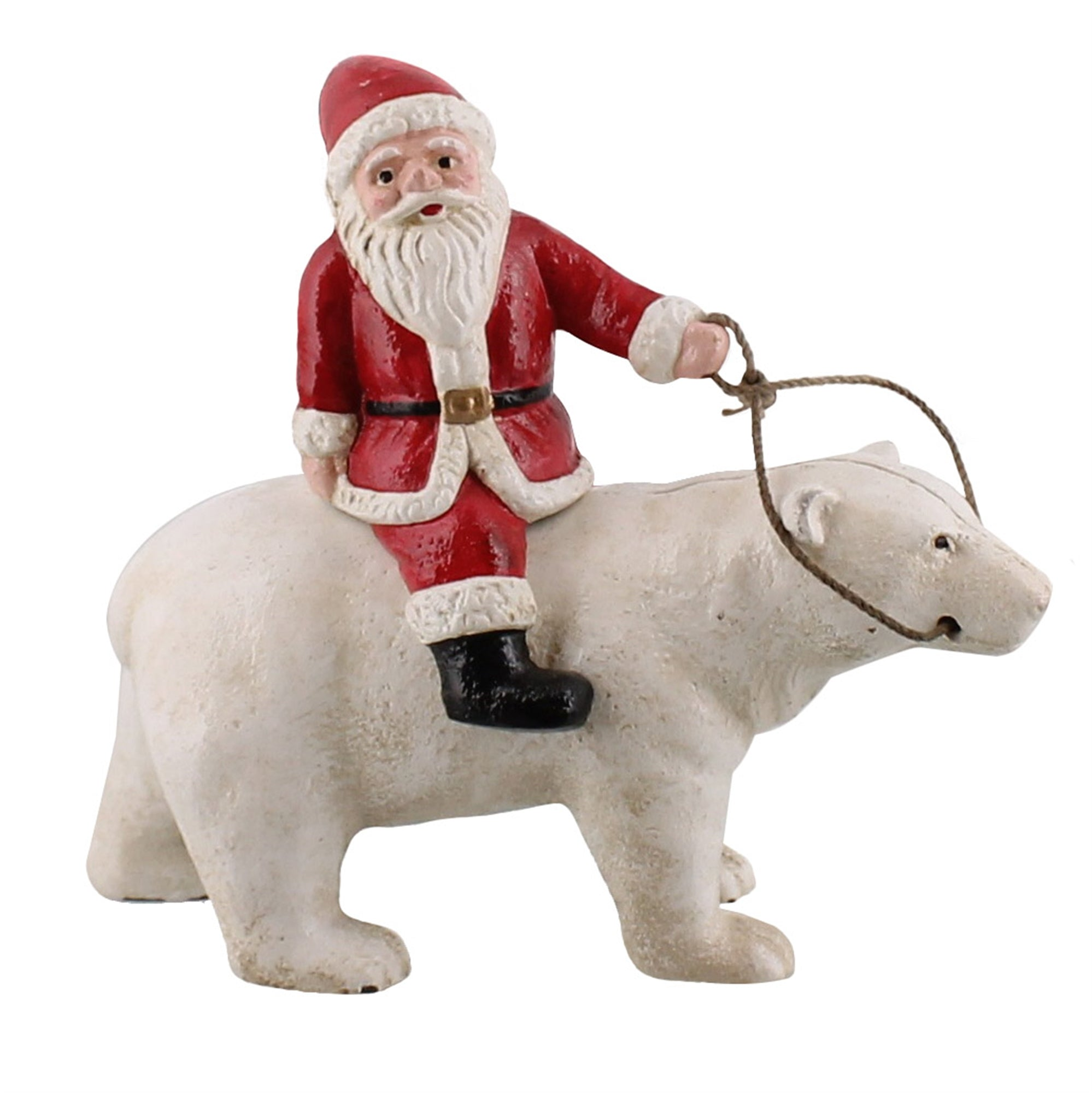 1807-0 - Polar Bear with Santa - Cast Iron by HomArt