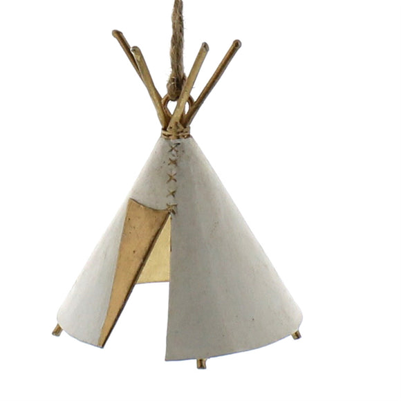 23115-0 - Set of 2 - Painted Metal Teepee Ornament - White by HomArt