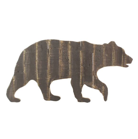 33008-13-Wood Slat Bear Wall Art - Antiqued Dark Brown by Homart