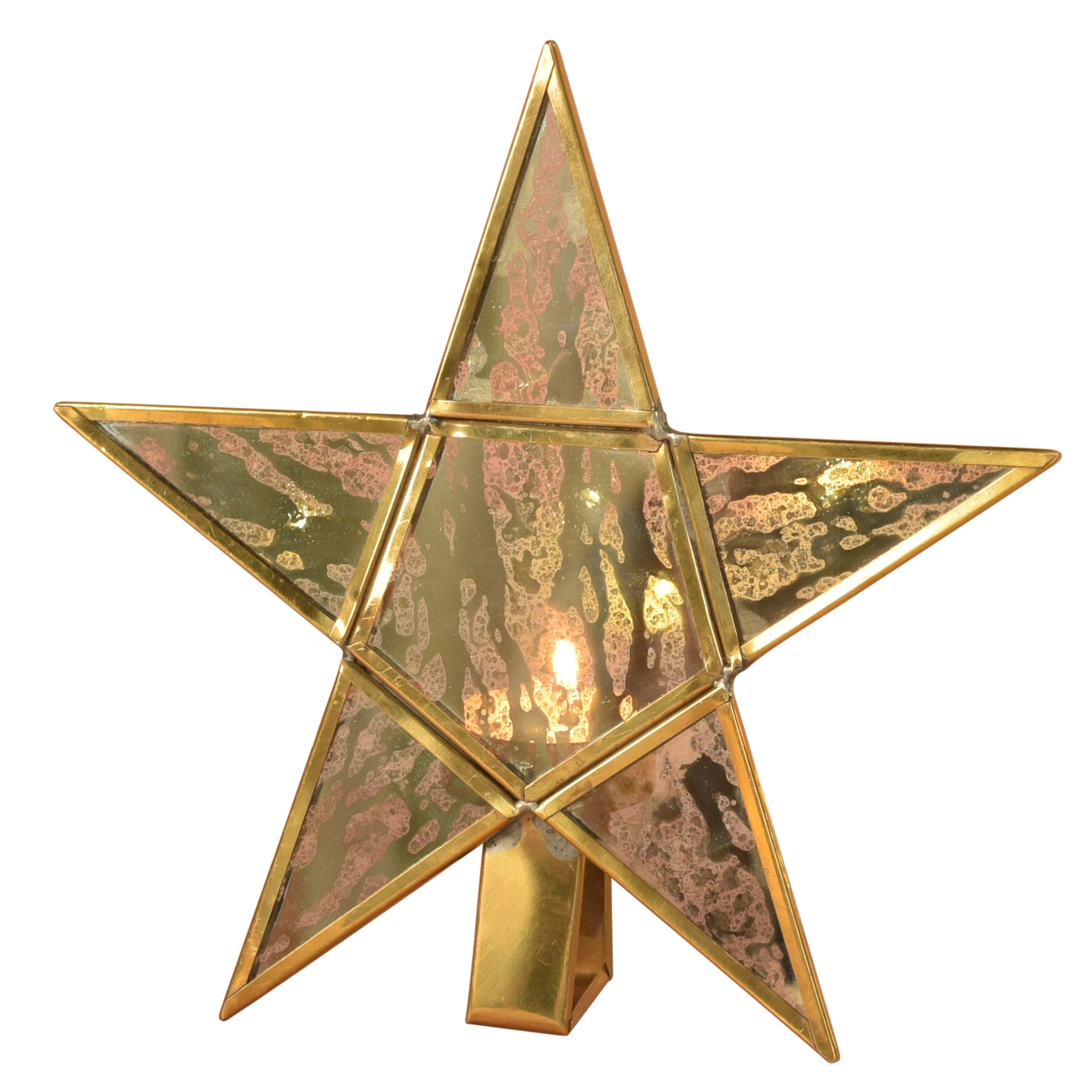 4367-14 - Antique Mirrored Star Tealight Holders - Glass & Brass - Large