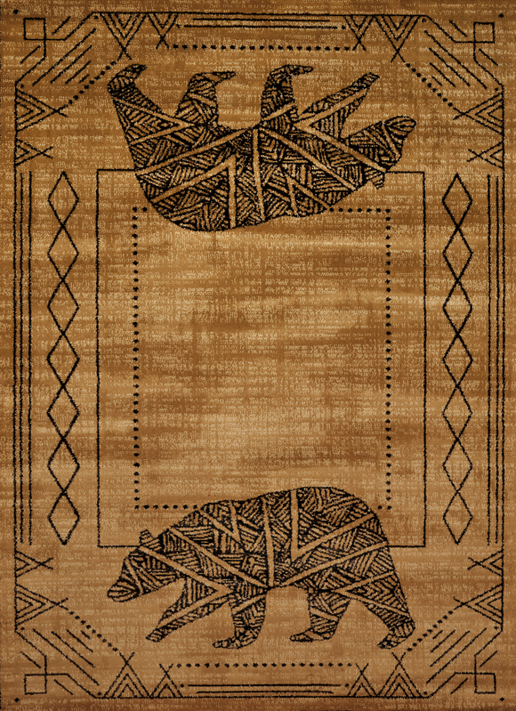 Affinity - Bear Cave Gold  Lodge Rug - by United Weavers - ThunderHorseCabin.com