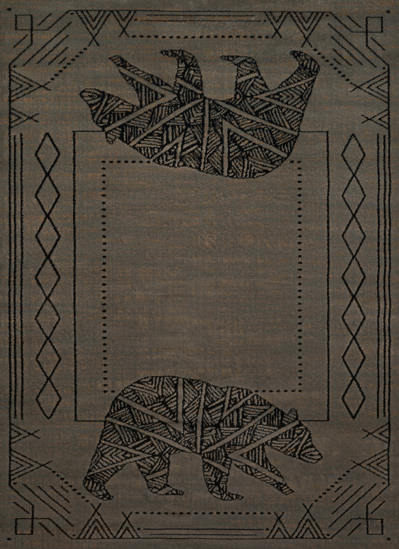 Affinity - Bear Cave Blue/Grey Lodge Rug - by United Weavers - ThunderHorseCabin.com