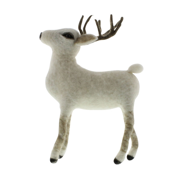 95028-0 - Set of 3 - Felt Reindeer - Arctic Stag - White by HomArt