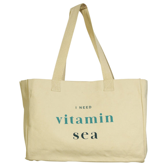 9919-4 - Beach Canvas Tote - I Need Vitamin Sea by HomArt