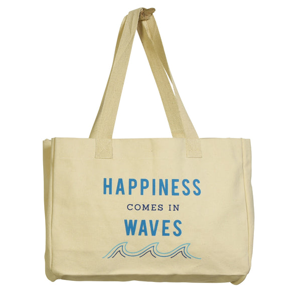 9919-5 - Beach Canvas Tote - Happiness Comes In Waves by HomArt