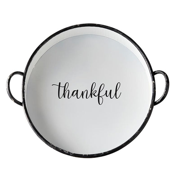 AMR538 - Set of 2 - Metal Round Tray - Thankful