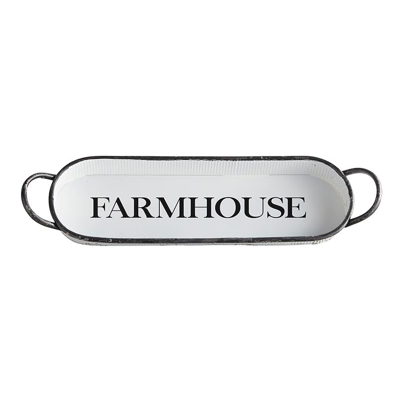 AMR542 - Set of 2 - Metal Oval Tray - Farmhouse by CBGifts