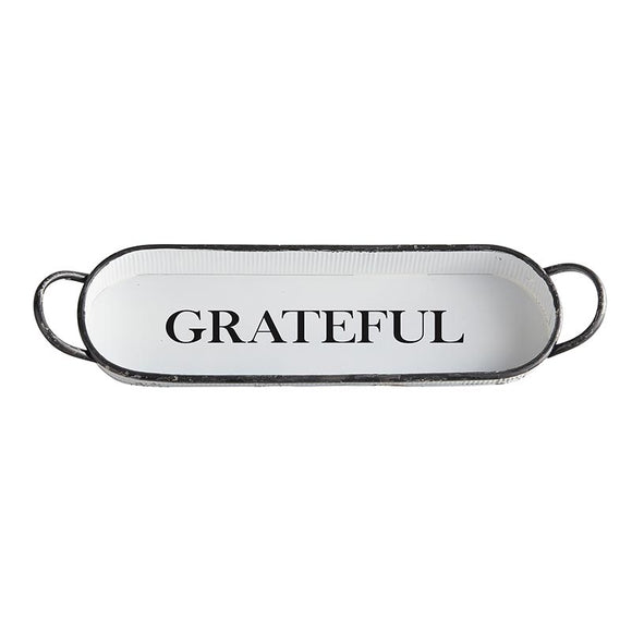 AMR543 - Set of 2 - Metal Oval Tray - Grateful by CBGifts