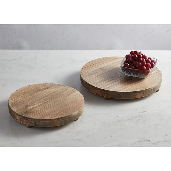 AMR676 - Wood Round Footed Tray - Small by CBGifts