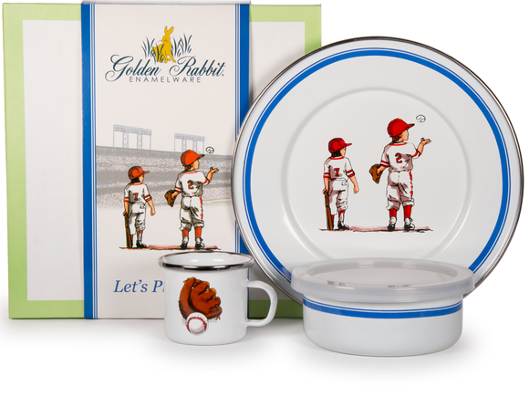 BA99 -  Enamelware Baseball Boys Pattern Child Dinner Set