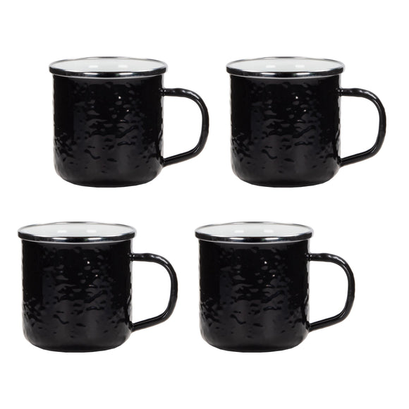 BK05S4 - Set of 4 - Solid Black - Enamelware Coffee Mugs