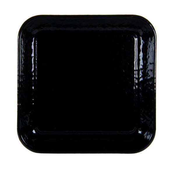 BK09S2 - Black on Black - Set of 2 - Enamelware 10.5 Inch Square Trays by Golden Rabbit