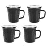 BK66S4 - Set of 4 -  Black on Black - 16 Ounce Latte Mug by Golden Rabbit