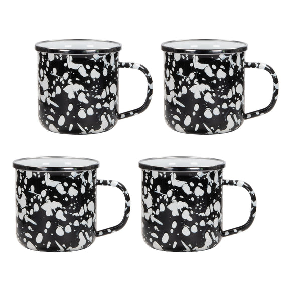 BL05S4 - Set of 4  - Black Swirl - Enamelware Coffee Mugs