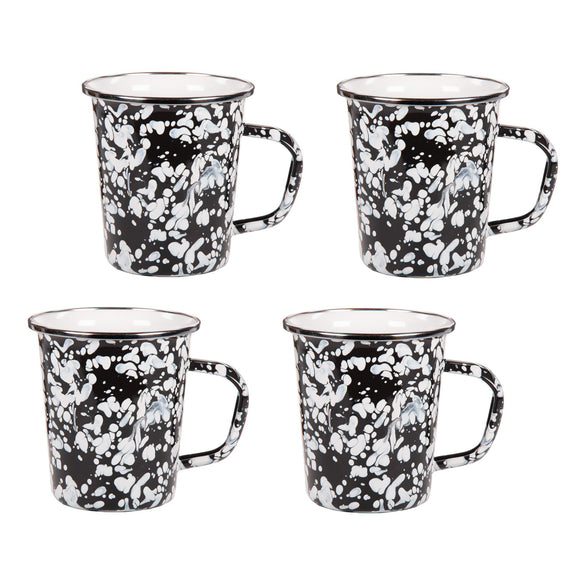 BL66S4 - Set of 4 -  Black Swirl - 16 Ounce Latte Mug by Golden Rabbit