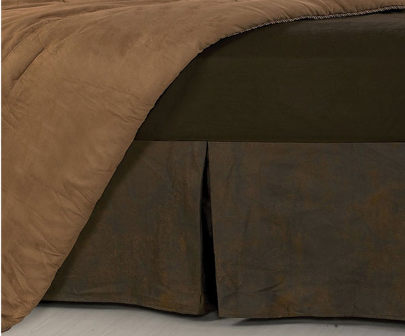 BS1001 - Faux Leather Bedskirt - Western Bedding by HiEnd Accents - ThunderHorseCabin.com