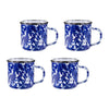 CB05S4 - Set of 4 - Cobalt Blue Swirl - Enamelware Coffee Mugs