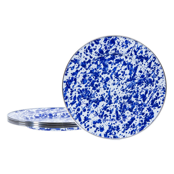 CB07S4 - Set of 4 - Cobalt Swirl -  Enamelware Dinner Plates