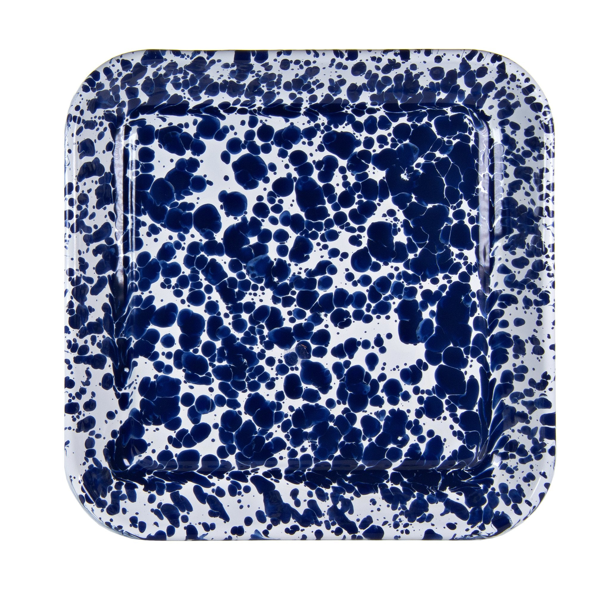 CB09S2 - Cobalt Blue Swirl - Set of 2 - Enamelware 10.5 Inch Square Trays by Golden Rabbit