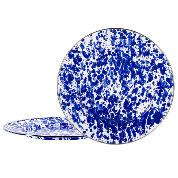 CB26S2 - Set of 2 - Enamelware Cobalt Swirl - Chargers