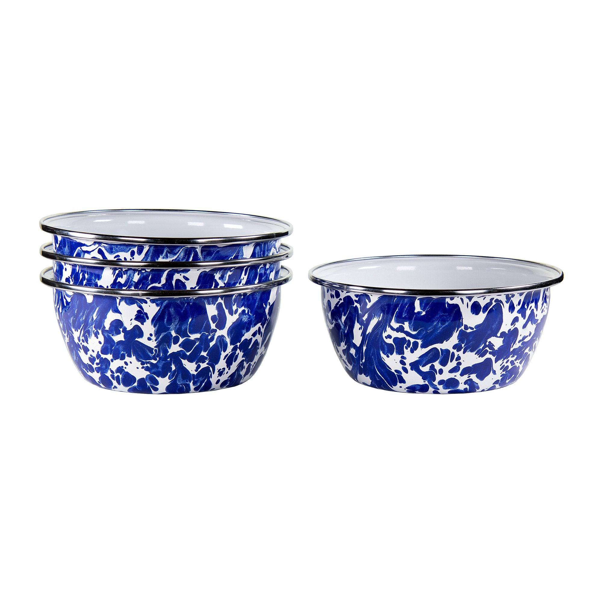 CB61S4 - Set of 4 - Enamelware Cobalt Blue Swirl - Salad Bowls by Golden Rabbit