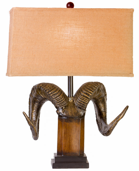 CL5025 - RAM HORNS TABLE LAMP by Vintage Direct Lamps - ThunderHorseCabin.com