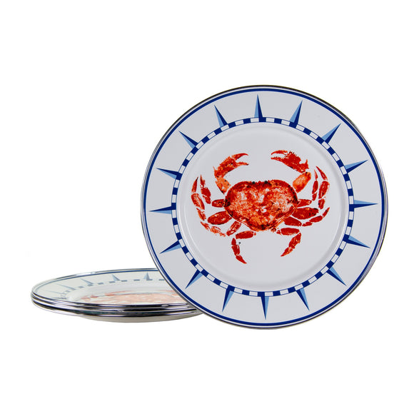 CR07S4 - Set of 4 - Crab House Pattern -  Dinner Plates