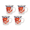 CR66S4 - Set of 4 - Crab House Pattern - Latte Mugs