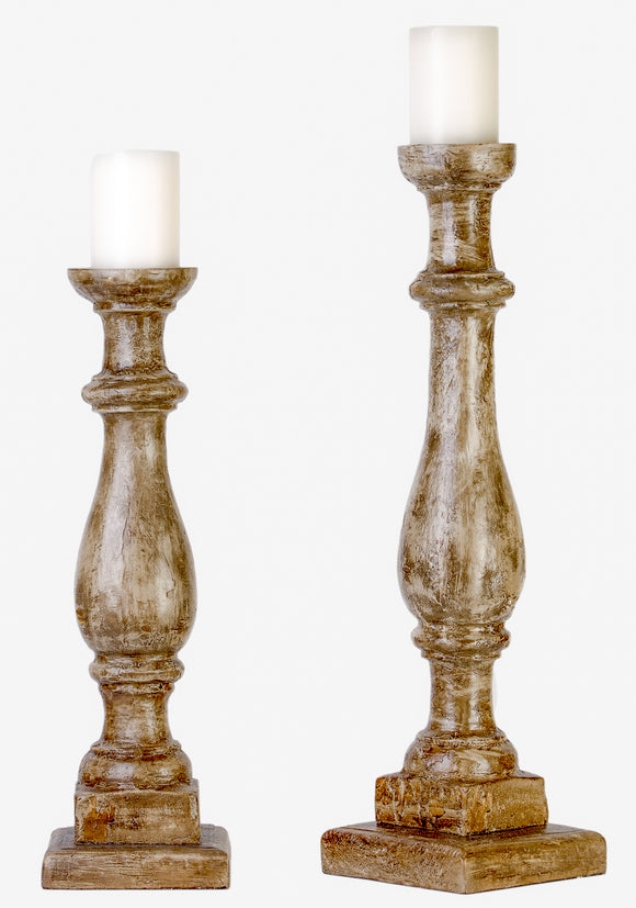 CS75597 - RUSTIC CANDLEHOLDERS  WOOD FINISH  by Vintage Direct Lamps - ThunderHorseCabin.com