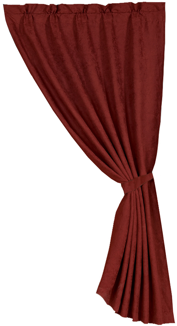 CU1002 - Red Suede Curtain - Western Bedding by HiEnd Accents - ThunderHorseCabin.com