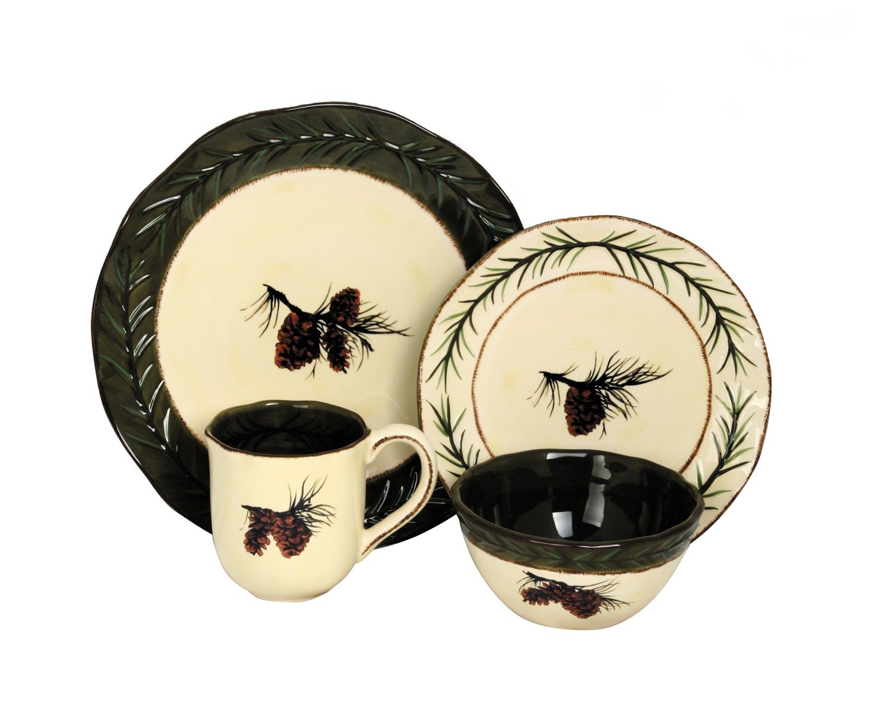 DI1800 - 16 PC Pine Cone Dinnerware Set by HiEnd Accents