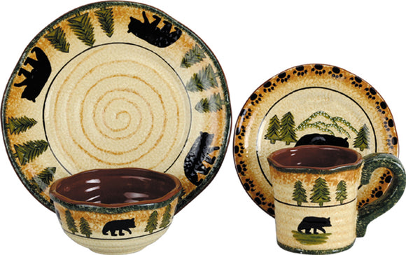 DI1810 - 16 PC Bear Dinnerware Set by HiEnd Accents