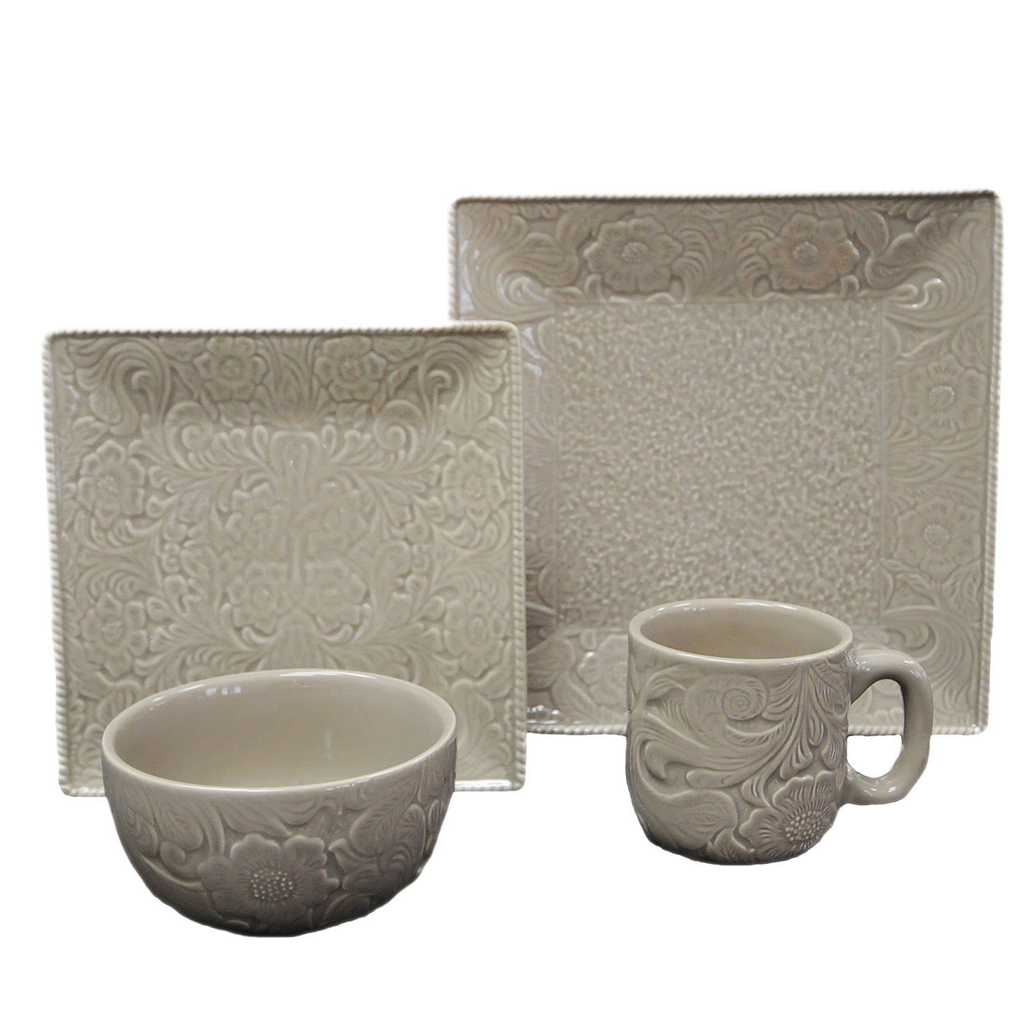 DI4001-OS-TP - 16 PC Savannah Dishes Set - Taupe by HiEnd Accents