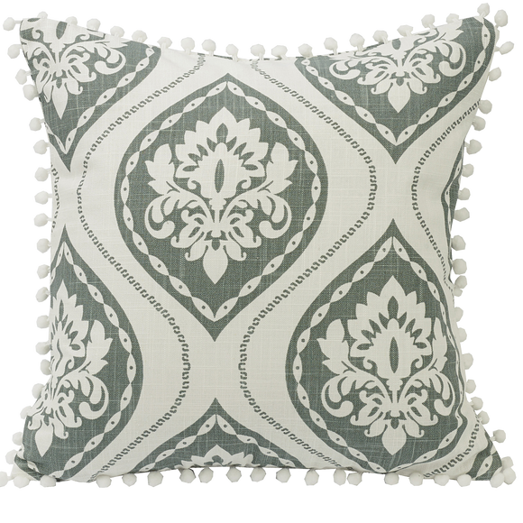 FB1611P4 - Graphic Print Pillow With Pom Trim - ThunderHorseCabin.com