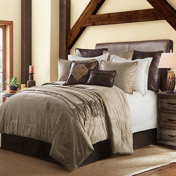 FB1828 - Diane (Oatmeal) Bedding Set - Western Bedding by HiEnd Accents - ThunderHorseCabin.com