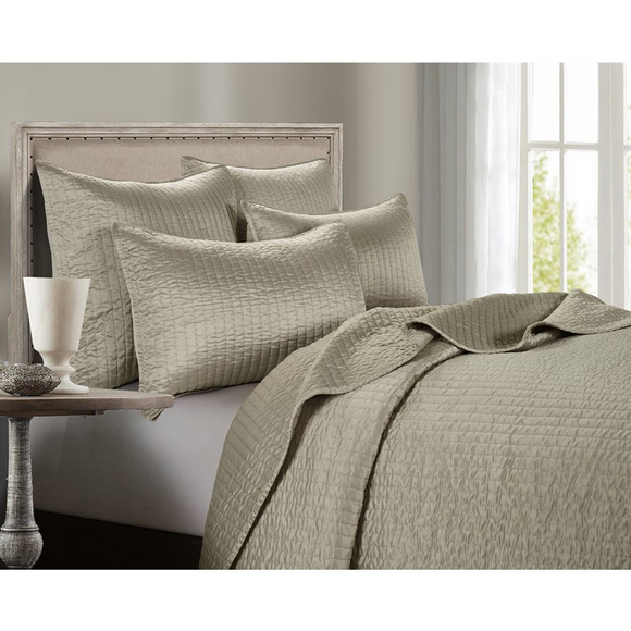 FB3500 - Satin Quilt Set (Taupe) - Bedding by HiEnd Accents - ThunderHorseCabin.com