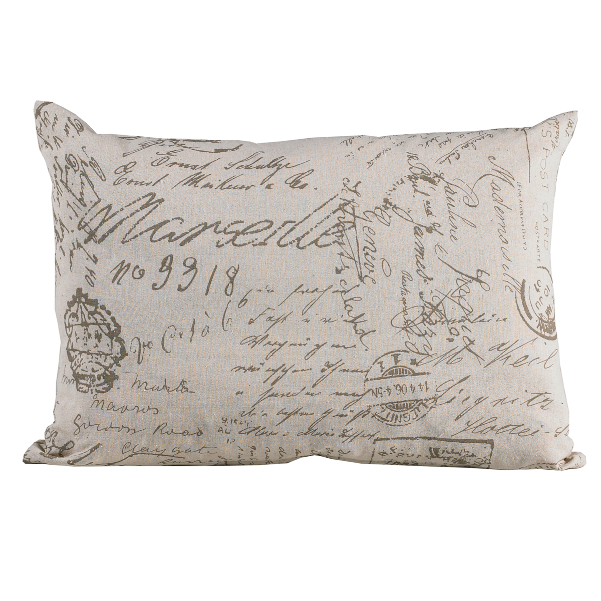 FB3900P2  Fairfield Printed French Script Pillow - ThunderHorseCabin.com