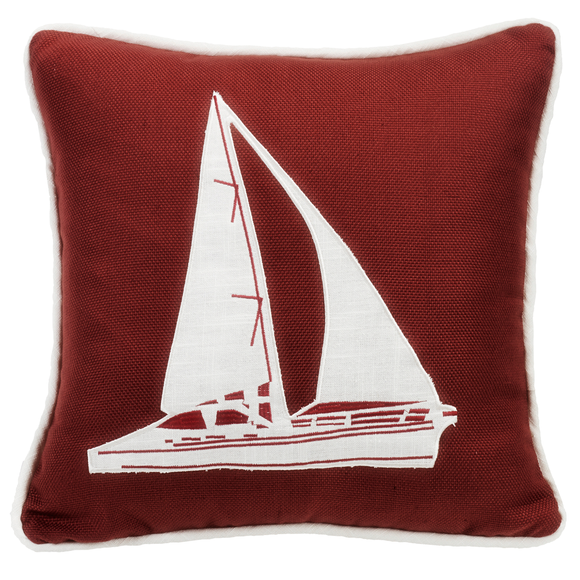 FB3970P7 Monterrey Red Sailboat Pillow - ThunderHorseCabin.com