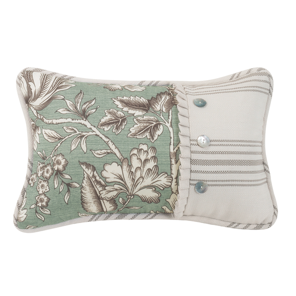 FB4160P5 Gramercy Printed Floral Button Pillow - ThunderHorseCabin.com