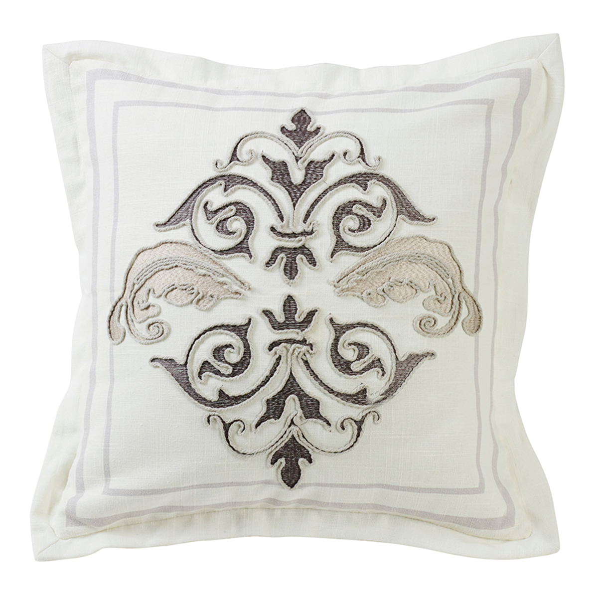 FB4900P1  Charlotte Square Embroidered Pillow - ThunderHorseCabin.com