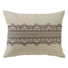 FB4900P2  Charlotte Tan Burlap Lace Pillow - ThunderHorseCabin.com