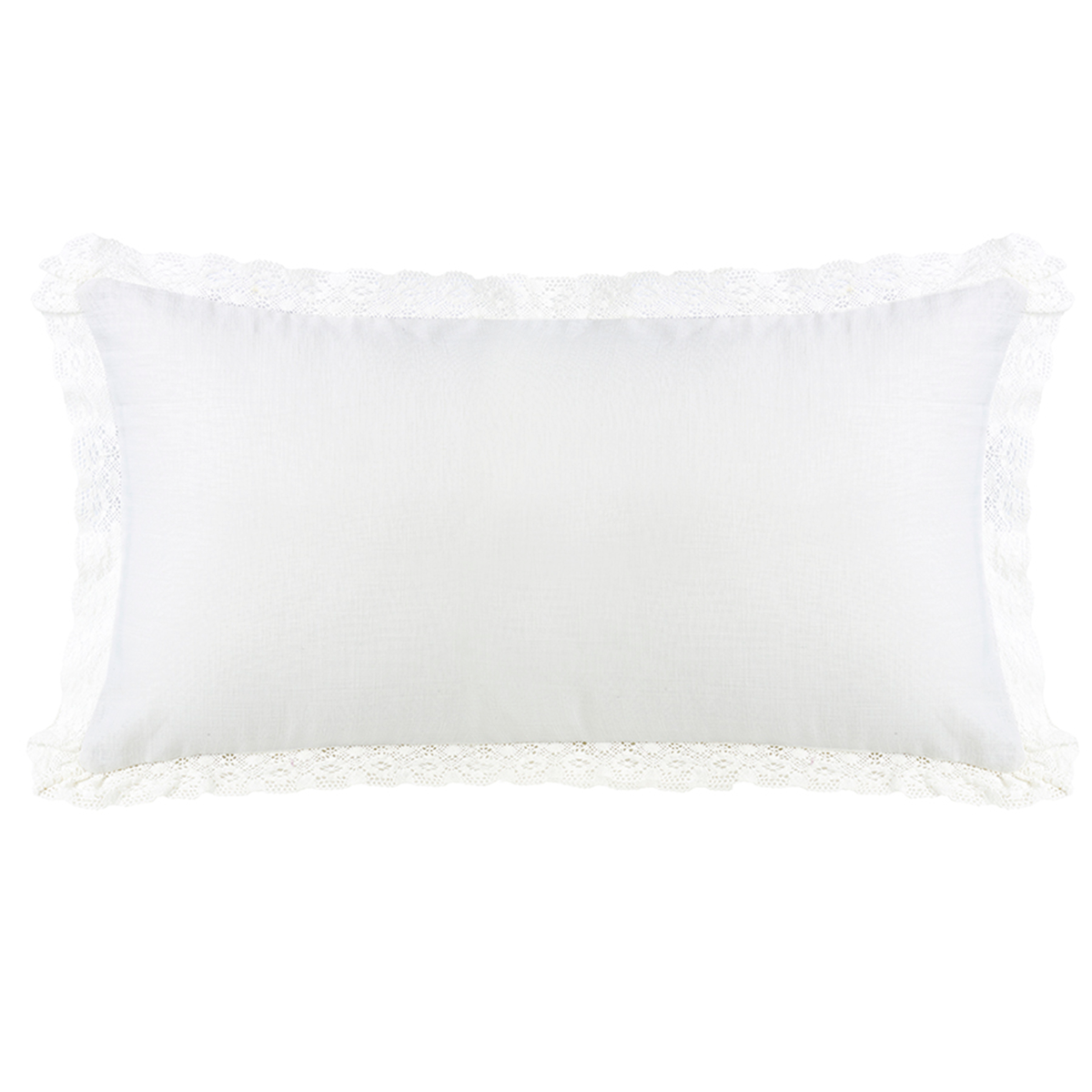 FB4900P4  Charlotte Long Linen and Lace Pillow - ThunderHorseCabin.com