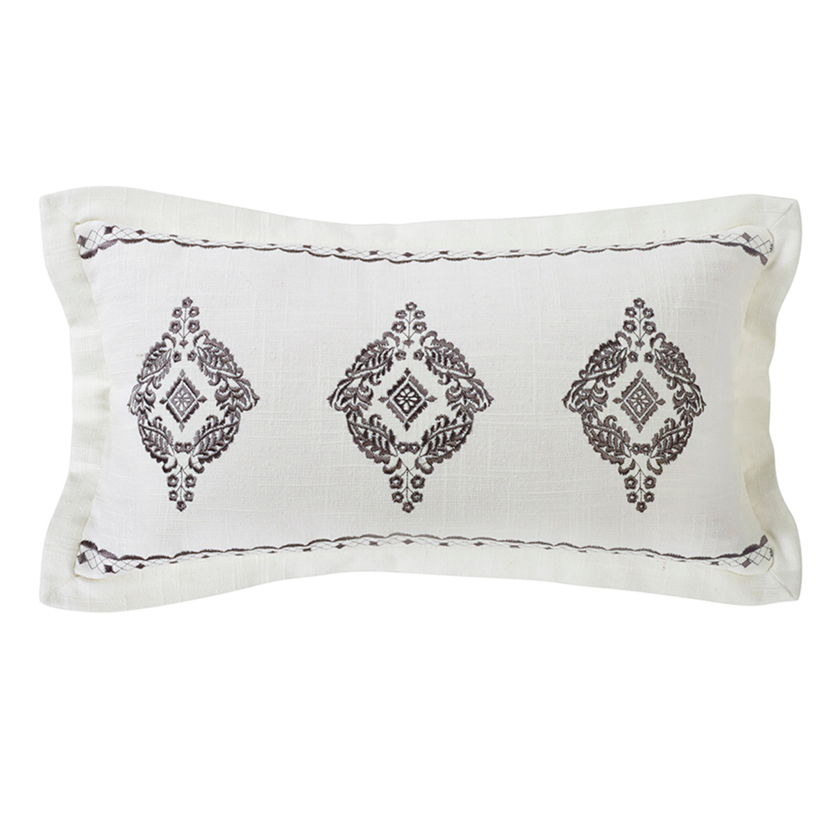 FB4900P5  Charlotte Oblong Embroidered Lace Pillow - ThunderHorseCabin.com