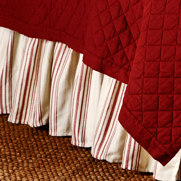 FB6200BS Prescott Red Striped Bedskirt - ThunderHorseCabin.com