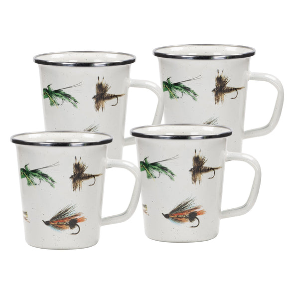 FF66S4 - Set of 4 - Fishing Fly - Enamelware - Latte Mugs